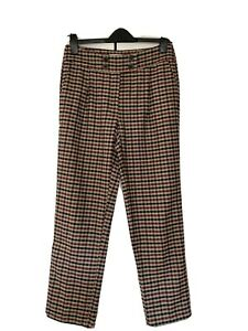 Mango, Heritage Check Tapered Trousers, In Browns, Size EU 40