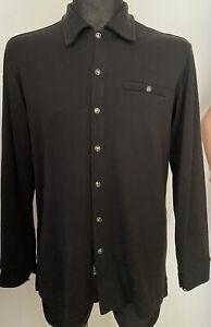 🔥VERSACE 🔥Jeans Couture Black Wool Shirt Long  sleeve. Button Medusa Sz:L