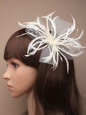 Cream fascinator net feathers & pearls clip & brooch  Wedding Races Bride