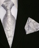 Krawatte mit Einstecktuch Krawatten Schlips Binder de Luxe Tie 355 silber 155