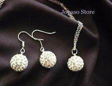 18K White GP Shamballa Ball Swarovski Elements Crystal Wedding Jewellry set S006