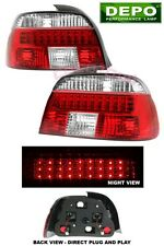 97-00 BMW E39 5 SERIES LED RED CLEAR TAIL LIGHTS DEPO 540i 528i PAIR