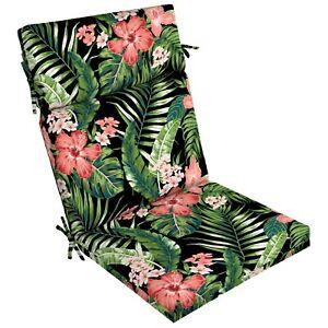 "Better Homes & Gardens Black Tropical 44"" x 21"" Outdoor Chair Seat Cushion Patio"