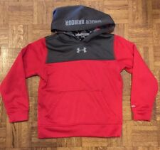Boys Under Armour Pullover Hoodie Red Gray Size Youth Small Good Condition