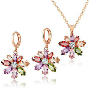Jewelry Sets Sun Flower Garnet Peridot Amethyst Gem Rose Gold Necklaces Earrings