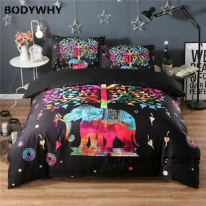 Bohemian Elephant Comforter Cover Animal Print Quilt Bedding Queen Size US Stock