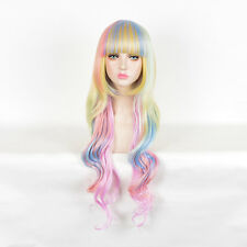 Women's Cosplay Party Wigs Candy Pastel Ombre Rainbow Blunt Bangs Frame Face Wig