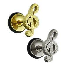 Notenschlüssel Gold Silber Glitzer Ohr Helix Piercing Schmuck Sand gestrahlt