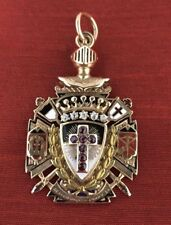 ANTIQUE 14K GOLD MASONIC TEMPLAR RUBY DIAMOND CROSS ENAMEL KNIGHT PENDANT