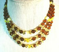MIRIAM HASKELL Vintage Topaz/Yellow Glass 3-Strand Necklace ~ NICE!