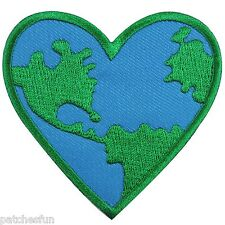 Love The Earth Heart Nature Conserve Save Energy World Map Iron on Patches #1281