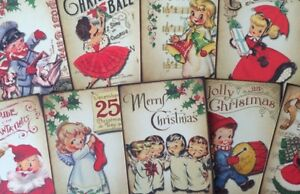 Vintage Christmas Retro Style Card Toppers, Gift Tags Make Your Own Cards Craft