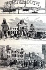 High Street Portsmouth 1882 GOVERNMENT HOUSE RAILWAY STATION Matted Engraving