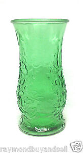 """Vintage Decorative Emerald Green Glass Flower Vase Leaves Texture 9.5"""" Tall"""