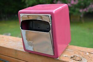 Vintage Marathon Diner Napkin Dispenser Metal Chrome Holder Pink Compact BinAE
