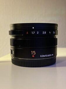 Panasonic H-X015K Leica DG Summilux 15mm f/1.7 ASPH. Lens Excellent Condition