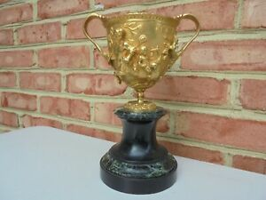 Antique Bronze & Marble Chalice Trophy Cup w High Relief Centaurs Putti Etc