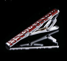 NEW Mens Wine Red Enamel Stainless Steel Tie Bar Clip Clasp wedding gifts