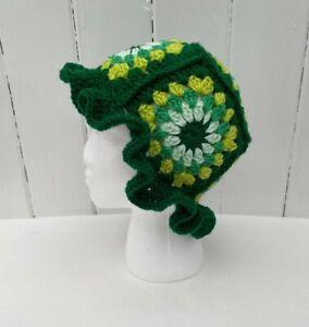 Bucket Hat Festival Crochet Boho Retro Hippy Wooly Handmade Adult Teen Unisex