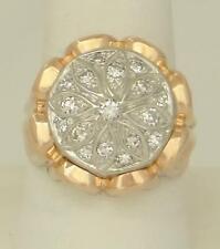MENS TWO TONE 18k ROSE GOLD PLATINUM 1/2ct VS DIAMOND VINTAGE FLORAL RING 14.9g