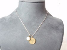 """John Wind Necklace Link Chain P Monogram Faux Pearl Charms Gold Silver 18"""""""