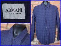 Armani Collezioni Blue Check Soft Touch L/S Btn Front Luxe Dress Shirt Mens XL