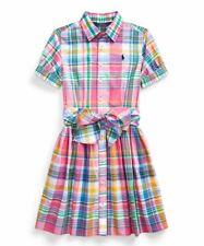 POLO RALPH LAUREN NEW KIDS GIRLS PLAIDS COTTON BELTED PLAID SHIRT-DRESS 8