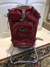 Ospery Poco w/Sun Shade Hiking Backpack Child Carrier Red Preowned Excellent