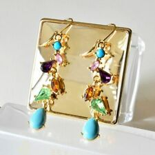 ❤️Earrings 9ct Gold Over Drop Turquoise ❤️Amethyst 63 mm UK FREE Post Silver❤️