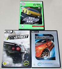 3 PC SPIELE BUNDLE - NEED FOR SPEED - PRO STREET - UNDERGROUND - III HOT PURSUIT