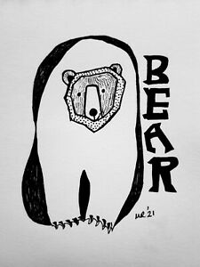 DAILY SKETCH Original Ink Drawing 'Bear #5' by Michelle Ranson