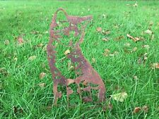 More details for rusty tabby cat silhouette metal animal garden art