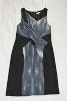 Helmut Lang Vertebrae Asymmetrical Black Grey Silk Back Zip Dress Women US4 UK8