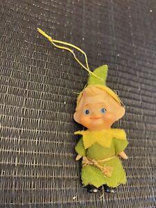 Vintage Christmas Green Felt Elf Ornaments Plastic Face
