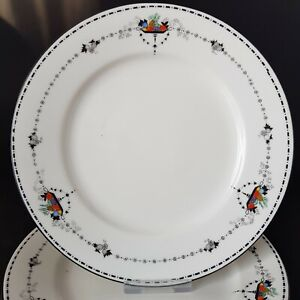 Four Shelley Basket of Fruit Side Tea Plates Pattern No 11366 Art Deco :C3