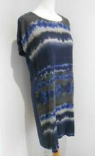 Sandwich_ navy pattern front long jersey tunic tshirt dress 40 10 12 VGC