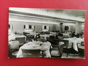 Royal Rotterdam Lloyd MS WILLEM RUYS First Class Dining Ship Liner RP c1950s