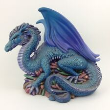 "Vintage Fantasy Dragon Figure 9"" long Purple Blue Guarding Crystals  see 12 pics"