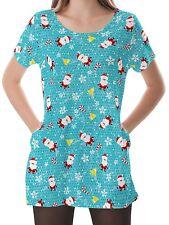 Christmas Women Scoop Neckline Pockets Top Shirt Blouse b16 acr00691