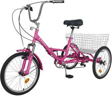 """Adult Folding Tricycle Speed 20"""" 3-Wheel Bike Foldable Tricycle for Women/Men"""