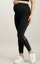 NEW BNWT TU Stretch Maternity Black Faux Leather Trim Leggings Size 16 RRP £16