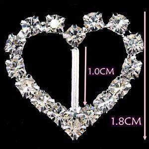 100Pcs Diamante Rhinestone Buckles Heart Ribbon Sliders Decor Embellishments UK