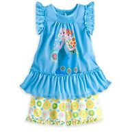 Disney Store Elsa & Anna Frozen Short Sleep Pajama PJ Set Girls sz 3 4 5/6 7/8