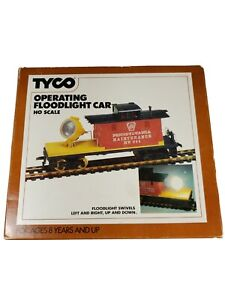 Tyco HO Scale Operating Floodlight Car No. 347 With Box Vintage