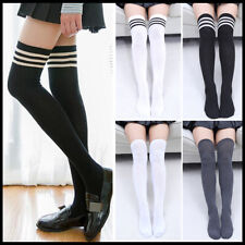 Fashion Women Girls Cotton Long Socks Striped Over The Knee Thigh High Stocking