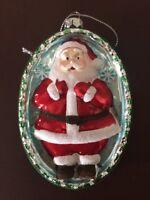 "NWT ""Oval Santa""  Old World Christmas Glass Ornament 4 1/2x3 (OR5138)"