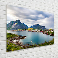 Wandbild aus Plexiglas® Druck auf Acryl 100x70 Landschaften Lofoten in Norwegen