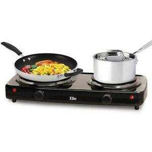 Small Electric Stove Top Double Hot Plate Portable Burner Countertop 2 Burners