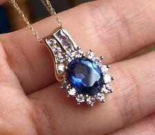 10k Yellow Gold Bule & White Sapphire Pendant Necklace
