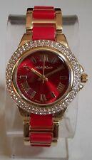 Women's Fashion Designer Rhinestone Red/Gold Finish Boyfriend Dressy Wrist Watch